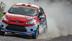 Sanjay Takale driving through the gravel terrain in Jyvaskyla on Day 2 of Neste Rally Finland in Ford Fiesta R2 in his debut World Rally Championship round with the season British co-driver Darren Garrod on Saturday.