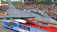 A model of Light Combat Aircraft Tejas trainer on display during the Republic Day parade at Rajpath in New Delhi on January 26, 2012.