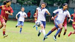 A match in progress between St Mary's School ( in white) and The Bishop's School, Kalyaninagar in the Under-17 Subroto Cup Football Tournament at Don Bosco High School, Yerawada.