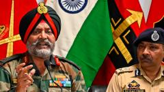 Indian Army General Officer Commanding (GOC) 15 Corps KJS Dhillon (L) speaks next to Police Chief Dilbagh Singh during a press conference at the Army headquarters, in Srinagar, on Friday.