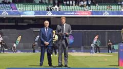 Britain's Prince Harry, Duke of Sussex (right) speaks as Chairman of the England and Wales Cricket Board Colin Graves looks on during an opening ceremony before the start of the 2019 Cricket World Cup.