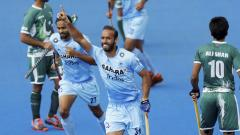 India's Ramandeep Singh celebrates scoring against Pakistan during the Men's World Hockey League match at Lee Valley Hockey Centre, London on Saturday