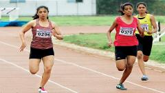 Chaitrali Gujar (bib no 0296) in action during the 200 metre final race at Balewadi warm up ground on Saturday.