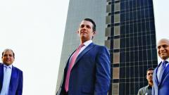 Donald Trump Jr launches Tower B of Trump Towers in Pune on Wednesday. Also seen are Atul Chordia (R), Chairman of Panchshil Realty, and Sagar Chordia, Director of Panchshil Realty.