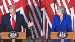 US President Donald Trump speaks as Britain's Prime Minister Theresa May listens during a joint press conference at the Foreign and Commonwealth Office in London on June 4, 2019. AFP Photo