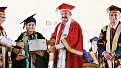 Gold medal was awarded to Zahabiya Nulwalla for standing first in MBBS examination by Vice-President Venkaiah Naidu