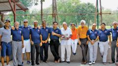 Poona Club Golf Course team captain MP Bharucha with entire team along with Golf Captain Narotam Chowdhary (5th from right) after winning the Inter-Club golf tournament