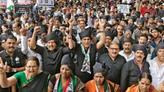 NCP conducted a long march to protest against one year of corruption of BJP in PMC on Thursday