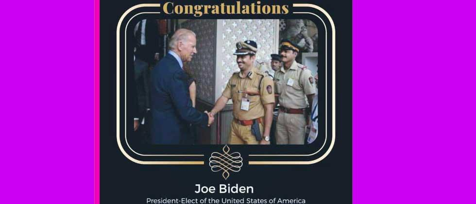 Congratulations to Joe Biden from Pimpri : Not from the leader; So from a police officer