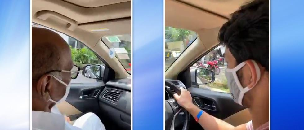 Sharad Pawar in a car with Grand son Vijay Sule