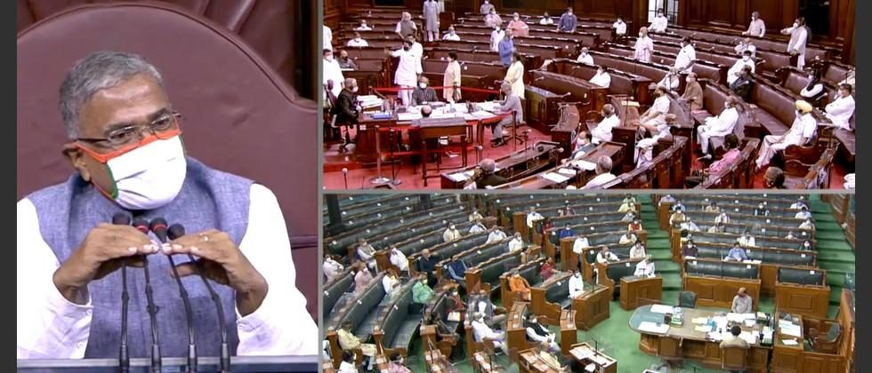 unprecedented chaos in rajya sabha during passage of agriculture bills