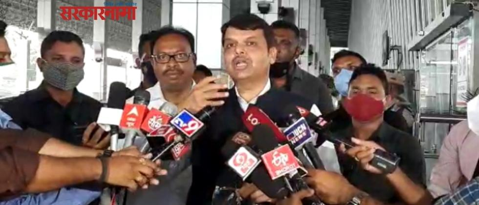 Devendra Fadanvis at press conference with bawankule