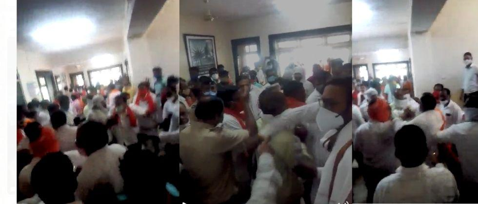 clashes in shivsena workers in front of minister uday samant