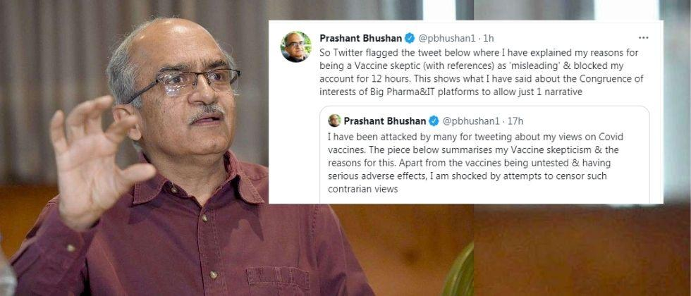 twitter flags prashant bhushan tweet and block his account for 12 hours