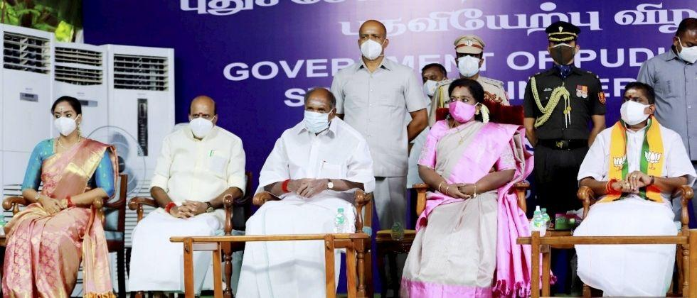 first nda cabinet in puducherry take oath by governor