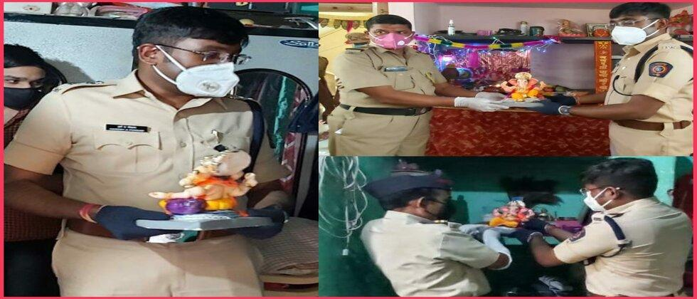 Beed SP Reached Police Constables home with Ganesh Idols