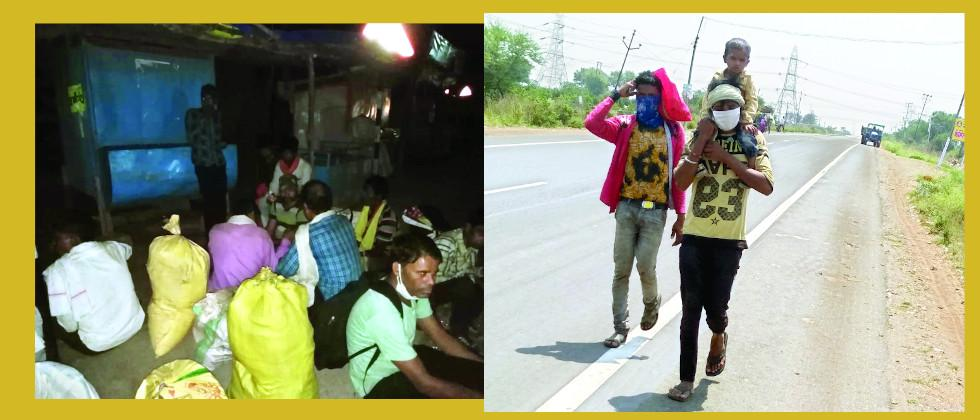 workers walks 120 km to reach home from nagpur