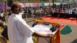 NCP President Sharad Pawar inaugurated the 45 meter high national flag at Warje area in Pune