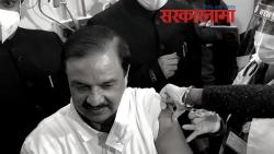 Bjp MP Mahesh sharma and trinamool congress Mla Rabindranath Chatterjee takes vaccine