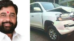 minister eknath shinde motor met with accident near vashi toll plaza