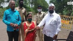 Sarpanch tied the rakhi to the brother on the border of two districts