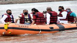 Karads Political leaders Boating  Krishna River