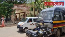 District Police Anti-Riot Squad deployed in front of Khed Panchayat Samiti