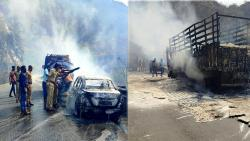 Agnitandava in Khambhatki Ghat; Burn trucks, burn cars
