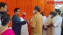 uddhav thackeray and raj thackeray meet at balasaheb thackeray statue inaugaration