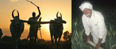 Farmers Working at Night in Field