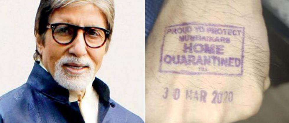 """Amitabh Bachchan shared the """"Home Quarantined"""" stamp on hand"""